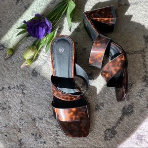 Shoes - Tortoise Strappy Stacked Heel Sandals